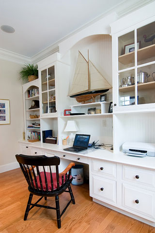 white, built-in office furniture